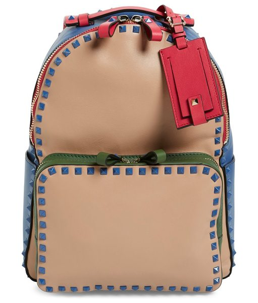 Valentino Rockstud colorblock backpack in skin sorbet/ garden/ fuxia - A smooth leather backpack takes a retro turn with...