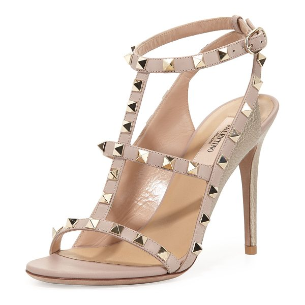Valentino Rockstud Colorblock Caged 100mm Sandal in sasso/poudre - Valentino Garavani colorblock leather sandal with...