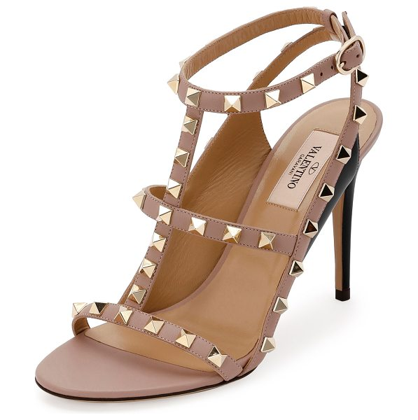 Valentino Rockstud Colorblock Caged 100mm Sandal in nero/poudre
