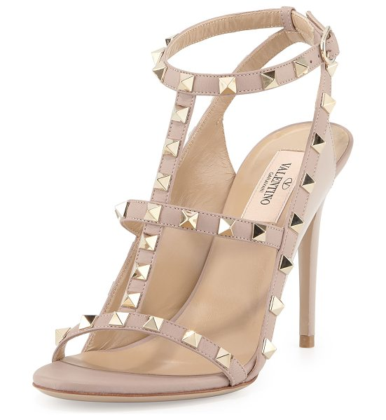 Valentino Rockstud Colorblock Caged 100mm Sandal in poudre - Valentino leather sandal with signature Rockstud trim....