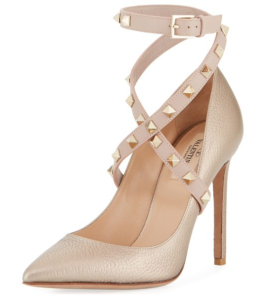 Valentino Rockstud Crisscross Ankle-Wrap Pumps in skin metallic - EXCLUSIVELY AT NEIMAN MARCUS Valentino Garavani pebbled...
