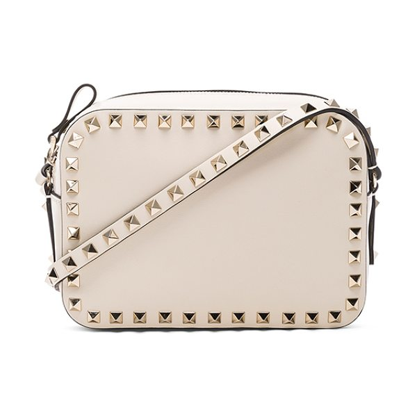 VALENTINO Rockstud Crossbody Bag - Genuine leather with canvas lining and gold-tone...