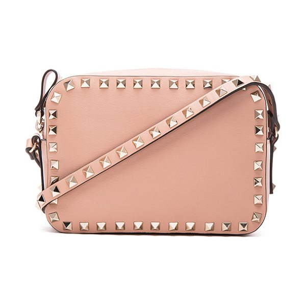 Valentino Rockstud crossbody bag in neutrals - Genuine leather with fabric lining and pale gold-tone...