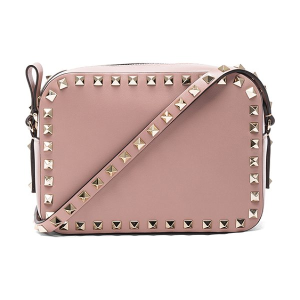 "VALENTINO Rockstud Crossbody Bag in neutrals - ""Genuine leather with canvas lining and gold-tone..."