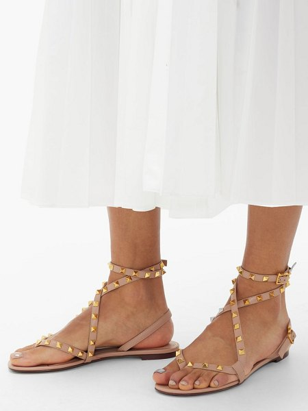Valentino rockstud crossover-strap leather sandals in nude