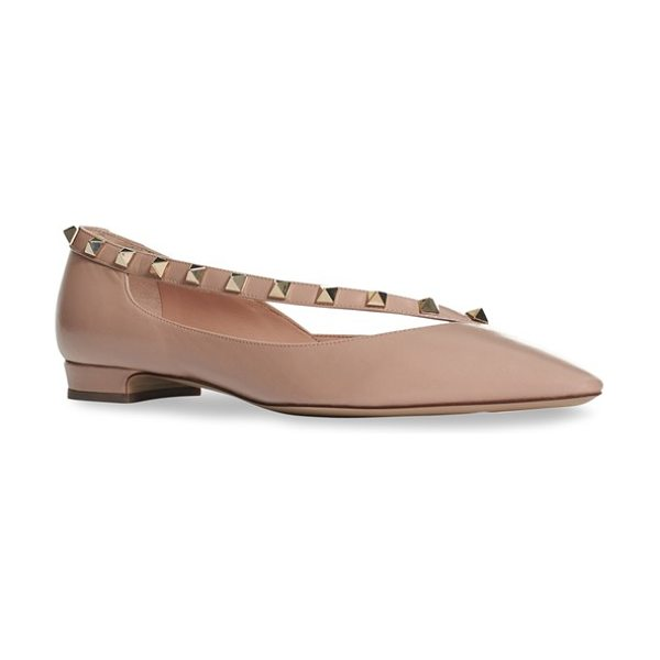 Valentino 'rockstud' demi d'orsay flat in nude leather - Valentino's trademark rockstud detailing adorns the...