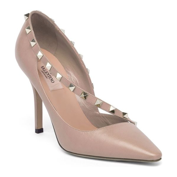 Valentino rockstud d'orsay leather point toe pumps in poudre - Studded asymmetric strap overlays leather d'Orsay pump....