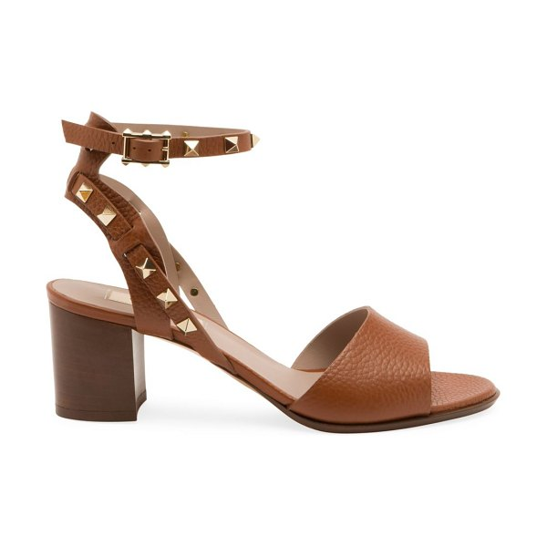 Valentino garavani rockstud double ankle-strap leather sandals in cognac