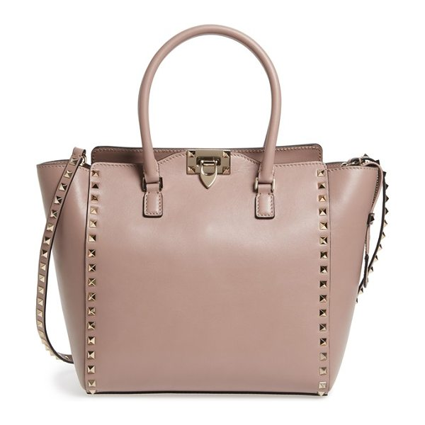 Valentino 'rockstud' leather double handle tote in poudre - Just the right size for carrying yet not too small to...
