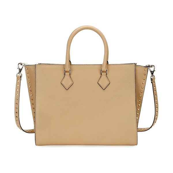 VALENTINO Rockstud Double-Handle Tote Bag - Valentino Garavani grained vitello leather tote bag....