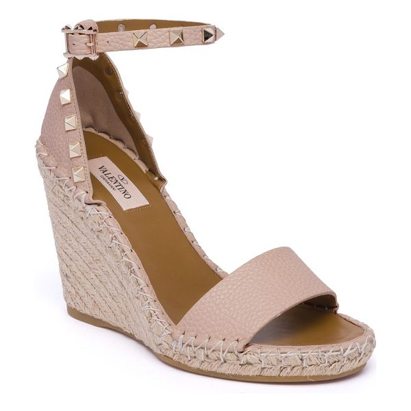 Valentino rockstud espadrille wedge sandals in poudre - Leather espadrille wedge with studded ankle strap...