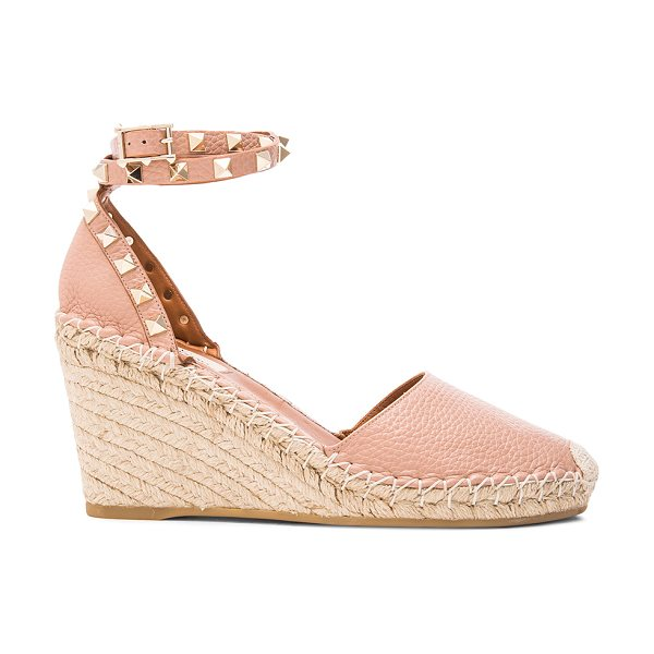 Valentino Rockstud Double Wedges in neutrals - Grained leather upper with rubber sole.  Made in Italy. ...