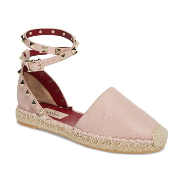 Valentino rockstud espadrille flat in pink - Signature rockstuds trace the counter and encircle the...