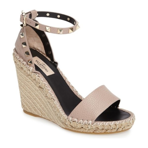 Valentino 'rockstud' espadrille wedge in nude - Gleaming rockstud hardware lines the strap of a standout...