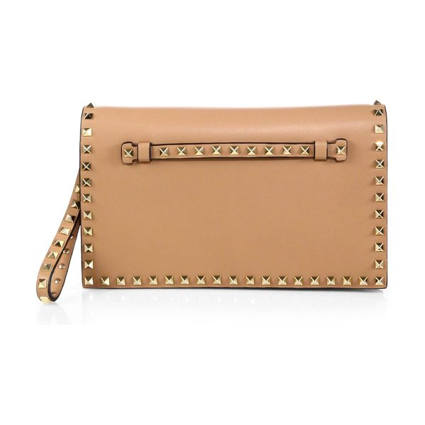 Valentino rockstud flap clutch in taupe - Flap top silhouette in luxurious Italian leather with...