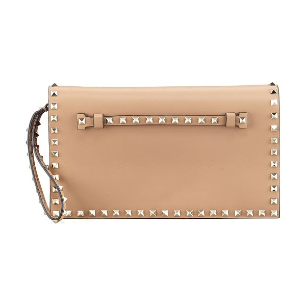 Valentino Rockstud flap wristlet clutch bag in tan - Napa with platino hardware. Valentino signature Rockstud...