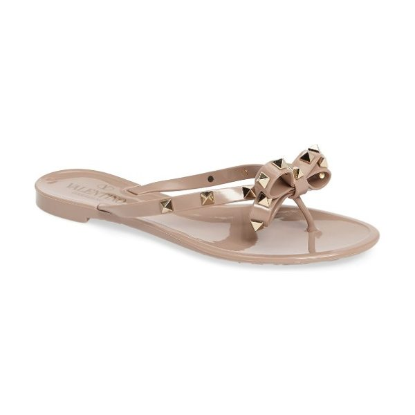 Valentino 'rockstud' flip flop in blush - Golden pyramid studs punctuate a bow-topped flip-flop...