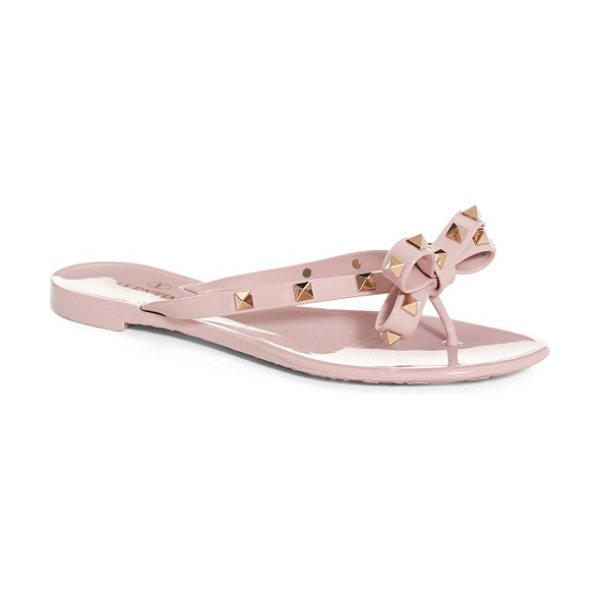 VALENTINO 'rockstud' flip flop - Golden pyramid studs punctuate a bow-topped flip-flop...