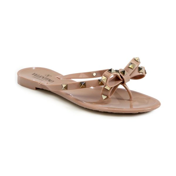 Valentino Rockstud jelly sandals in blush - Low-cut silhouette sprinkled in edgy studs, topped with...
