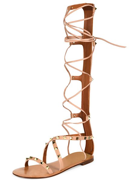 Valentino Rockstud Knee-High Gladiator Sandal in skin sorbet - Valentino vitello leather gladiator sandal. Signature...
