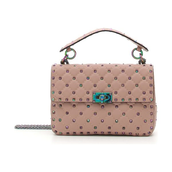 Valentino rockstud lambskin leather shoulder bag in dusty rose - Polished pyramid studs with a prismatic sheen spike the...