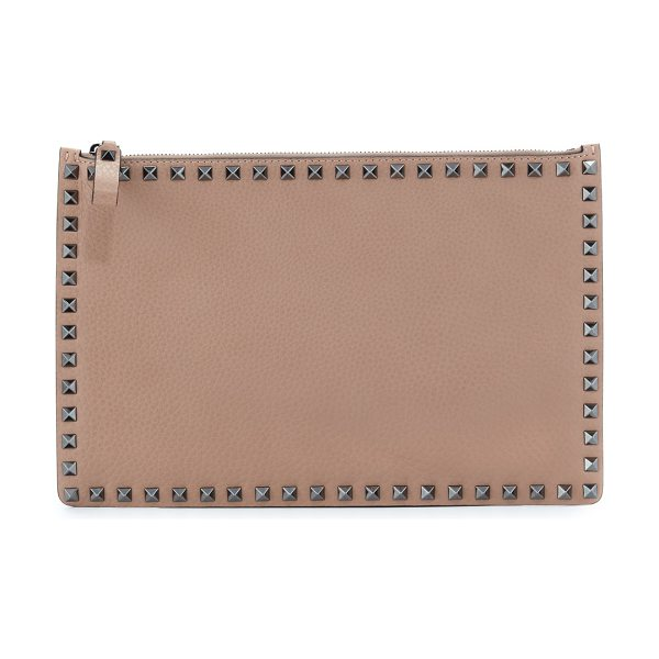 VALENTINO Rockstud Large Leather Pouch Bag - Valentino grained calfskin leather pouch bag. Signature...