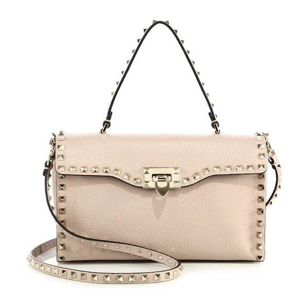 VALENTINO rockstud large leather top-handle bag - Wide leather flap silhouette traced by signature studs....