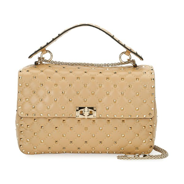 VALENTINO Rockstud Large Quilted Shoulder Bag - Valentino Garavani quilted leather shoulder bag with...