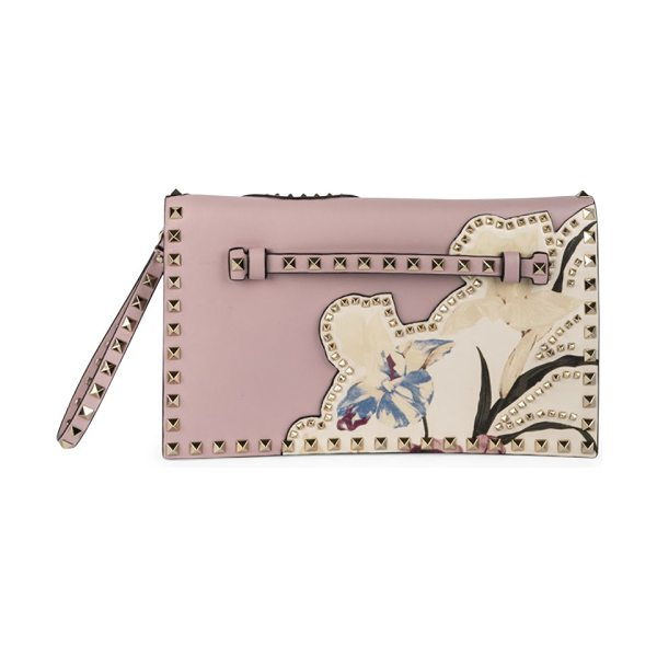 VALENTINO Rockstud lasercut leather clutch in lightpink-ivory - Lasercut leather updates statement studded clutch....