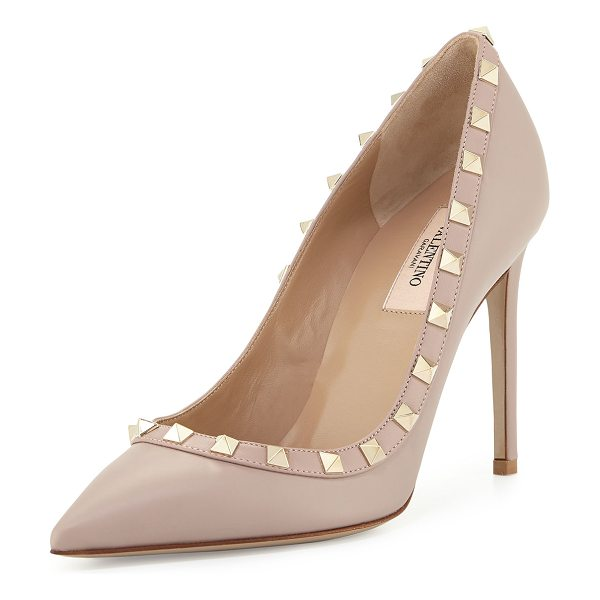 VALENTINO Rockstud Leather 100mm Pump - Valentino Garavani smooth calf leather pump. Signature...