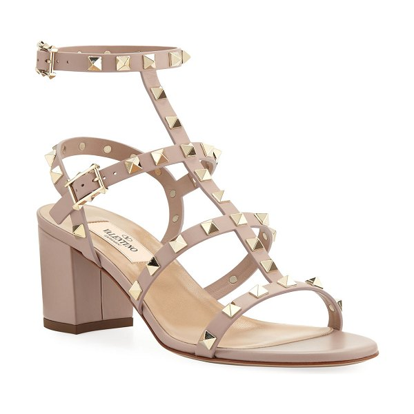 Valentino Rockstud Leather 60mm City Sandals in poudre