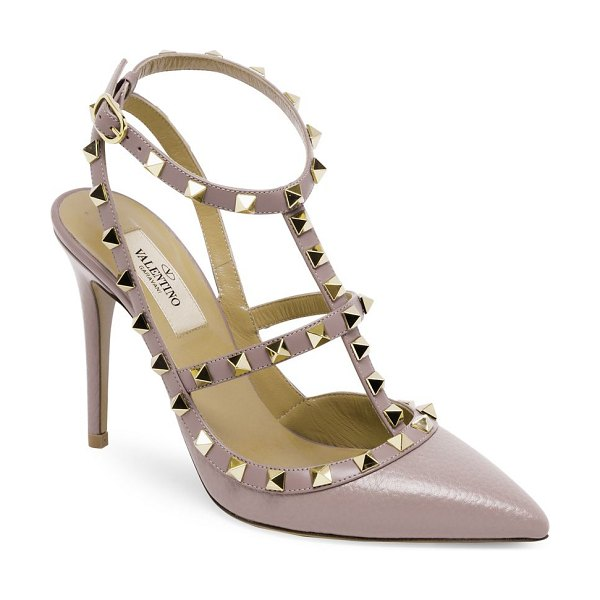 Valentino rockstud pebbled leather ankle-strap pumps in poudre - Leather caged heels adorned with signature rockstuds...