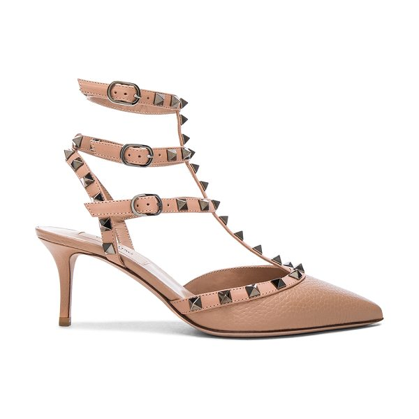 Valentino Rockstud Leather Ankle Strap Heels in neutrals - Leather upper and sole.  Made in Italy.  Approx 65mm/...