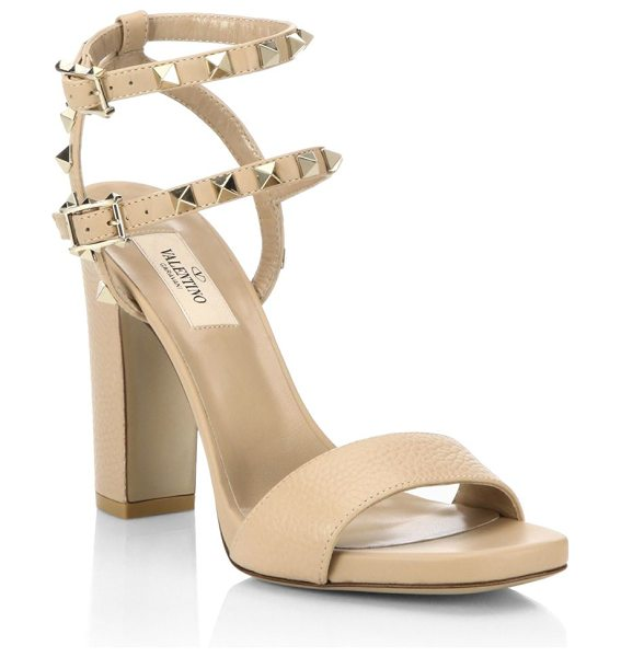Valentino rockstud leather ankle-strap sandals in camel rose - Pebble leather sandal with dual studded ankle straps....