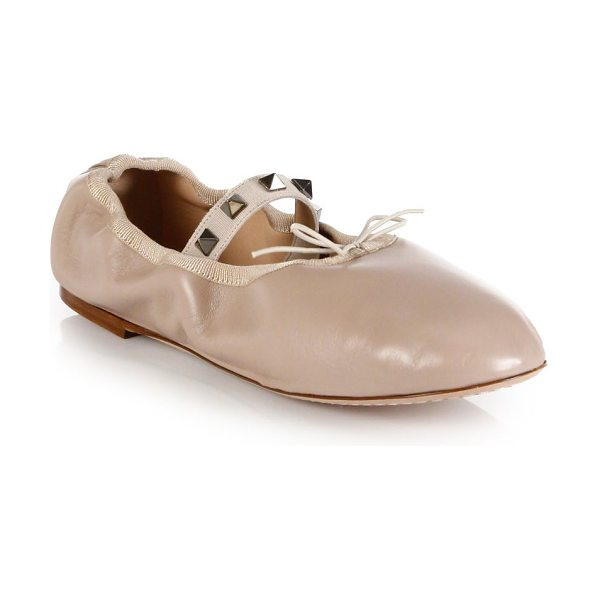 VALENTINO rockstud leather ballet flats - Leather ballet-inspired flat with studded elasticized...