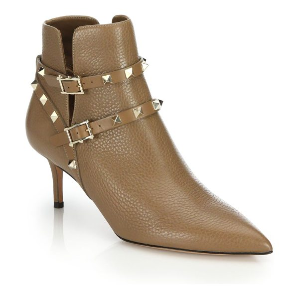 Valentino rockstud leather booties in brown - Signature studs are an edgy update to these soft,...