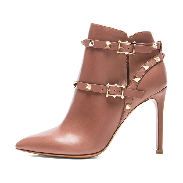 VALENTINO Rockstud leather booties t.100 - Leather upper and sole.  Made in Italy.  Approx 100mm/ 4...
