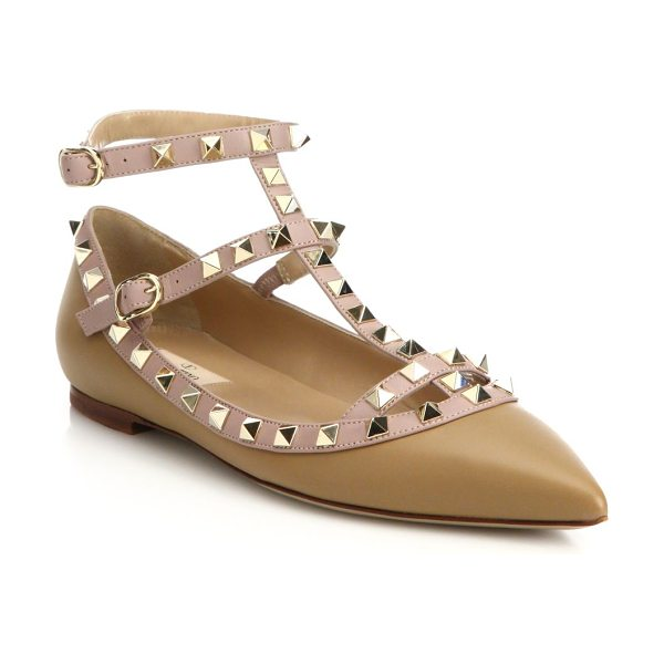 Valentino rockstud leather cage flats in taupe - Signature rockstuds decorate classic cage flat. Leather...