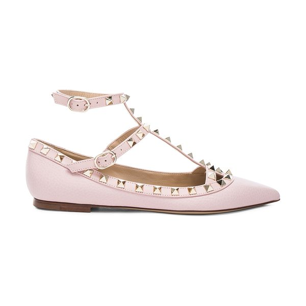 Valentino Rockstud Leather Cage Flats in pink - Leather upper and sole.  Made in Italy.  Rubber tap...