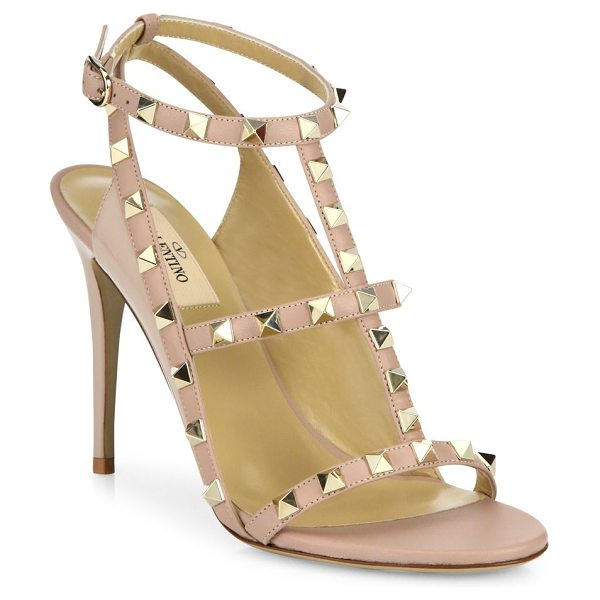 Valentino rockstud leather cage sandals in poudre
