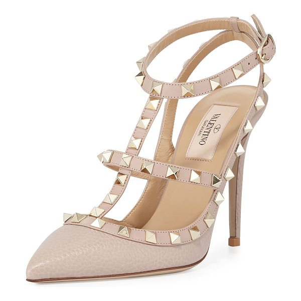 Valentino Rockstud Leather Caged Pump in poudre