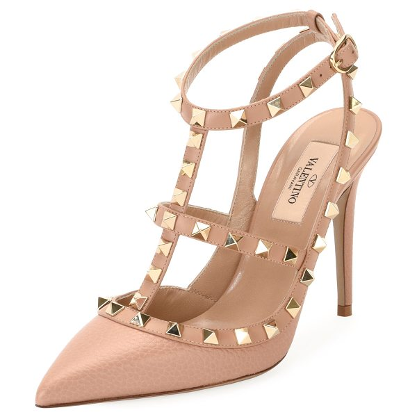 Valentino Rockstud Leather Caged Pump in nude - Valentino Garavani pebbled leather pump with signature...