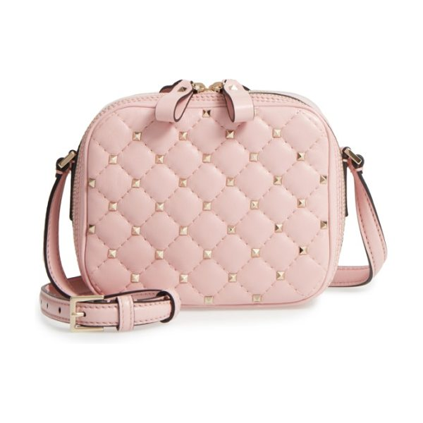 VALENTINO rockstud leather camera crossbody bag in pink - Featuring a compact design inspired by vintage camera...