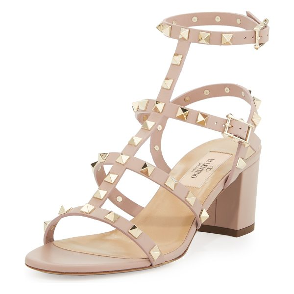 Valentino Rockstud leather city sandal in poudre - Valentino calf leather city sandal with signature...