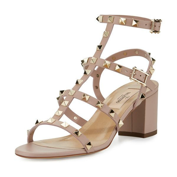 Valentino Rockstud Leather 60mm City Sandal in poudre - Valentino Garavani napa leather city sandal. Signature...