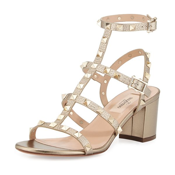 Valentino Rockstud leather city sandal in alba - Valentino leather city sandal with signature Rockstud...