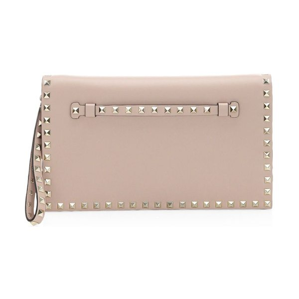 Valentino rockstud leather clutch in poudre - Smooth leather wristlet clutch with iconic rockstud...