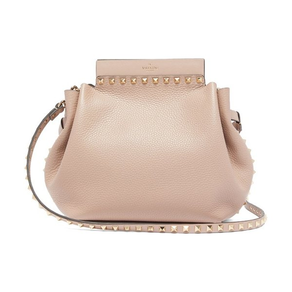 Valentino rockstud leather cross body bag in nude