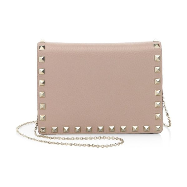 Valentino rockstud leather crossbody bag in poudre