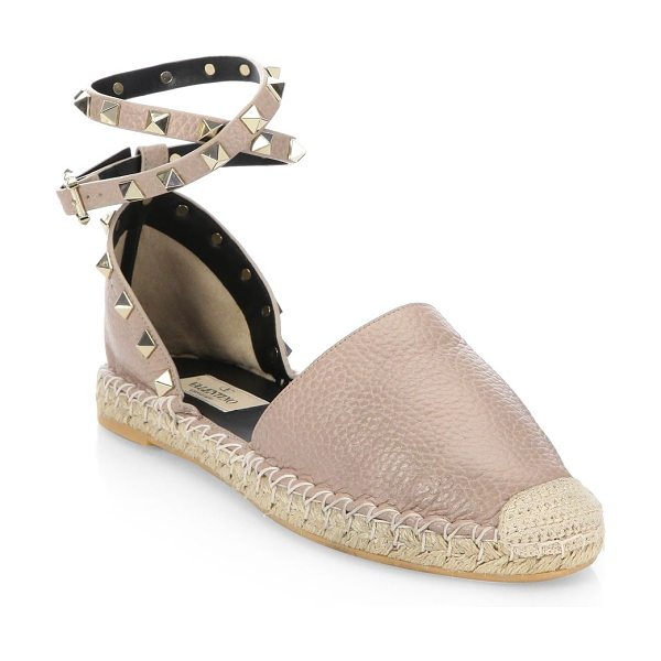Valentino rockstud leather espadrilles in poudre - Leather d'Orsay espadrille with studded ankle strap...